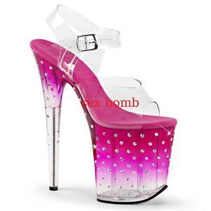 20 Dal Sandali Plateau Tacco Strass Club Sexy Al trasparente Glamour Rosa 35 42 q6x0tnp