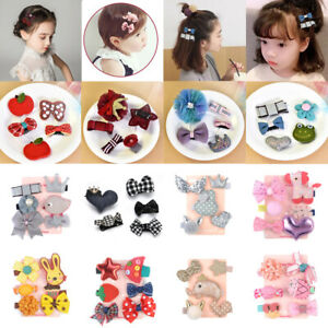 Baby-Girls-5Pcs-Set-Kid-Lovely-Hair-Clip-Bowknot-Hairpin-Cartoon-Barrettes-Soft