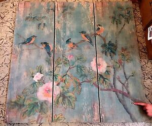 Pottery Barn Bird Amp Branch Triptych Panels Wall Art New