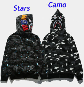da50d2cfe444 BAPE MEN S A BATHING APE SPACE CAMO SHARK HOODIE FULL ZIP Sweater ...