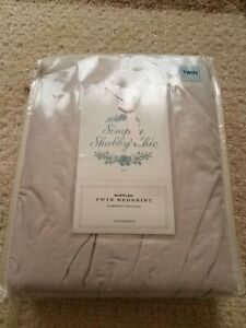 Simply shabby chic twin size pale green chambray bed skirt ...