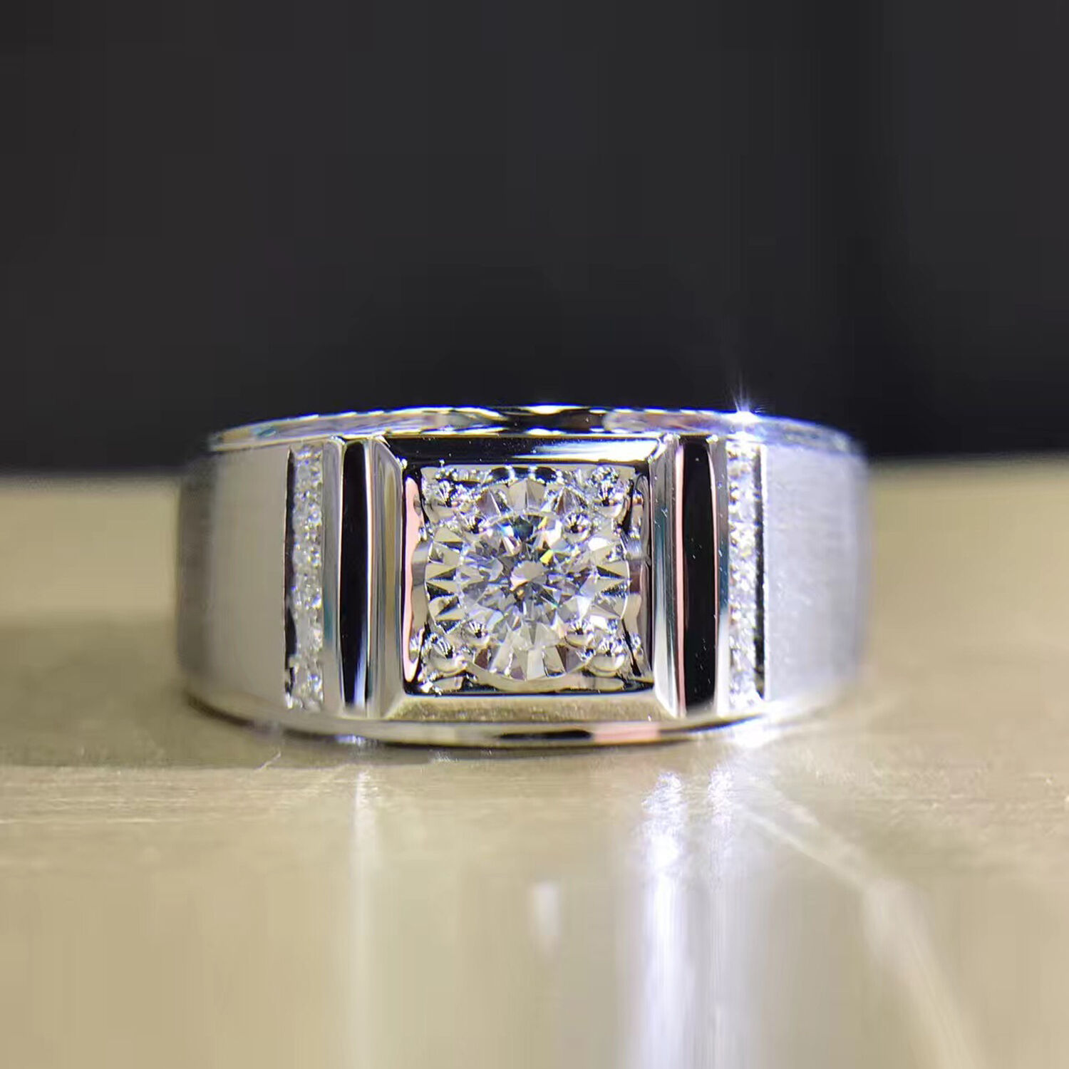 0.16ct Esdomera Moissanite 14k gold Prong Channel Set Accents Engagament Rings