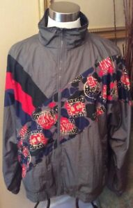 Vintage-USA-Olympic-Jacket-Mens-2XL-Gray-JCPenny-Made-USA-Red-Blue-Authentic