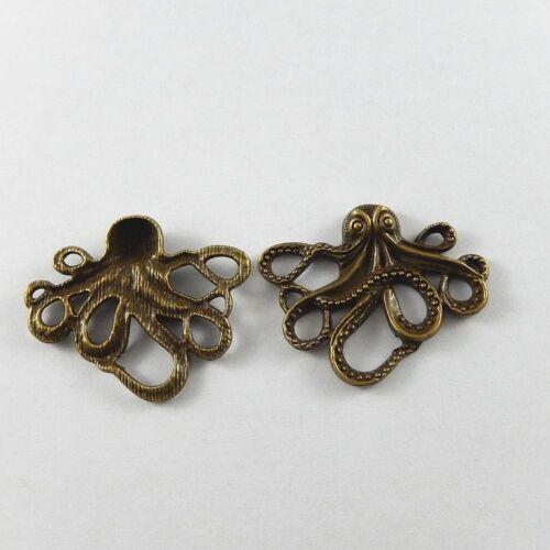 10x Vintage Bronze Octopus Look Alloy Handmade Pendant Necklace Jewelry Findings