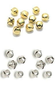 10-x-12mm-Small-Jingle-Bells-Gold-or-Silver-Decoration-Charm-Dancing-Metal