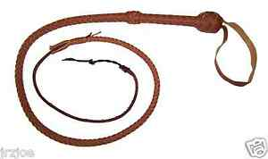 4-foot-8-plait-TAN-Bullwhip-Indiana-Jones-Stuntman-Leather-Bull-Whip-Bullwhip