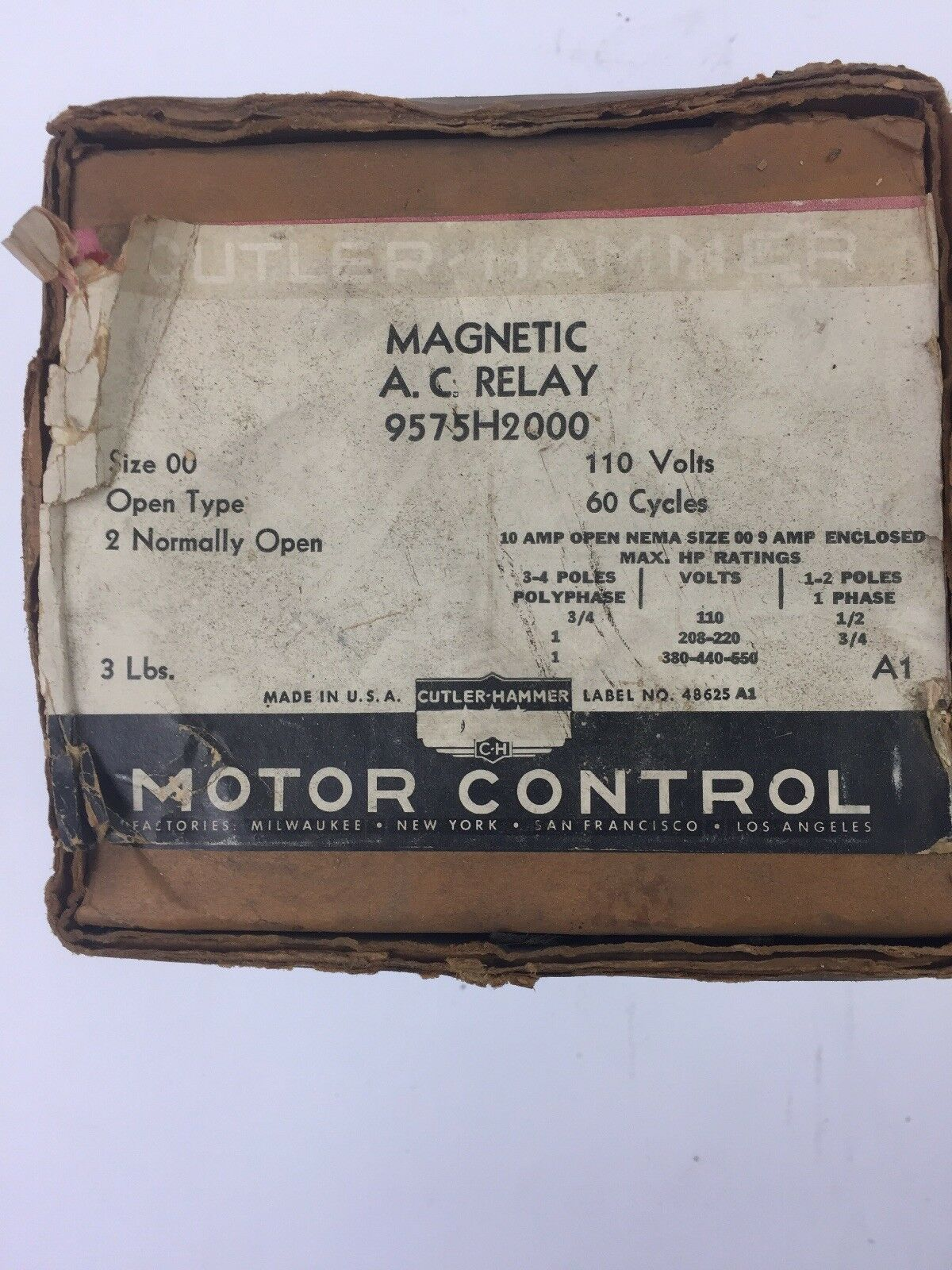 CUTLER HAMMER 9575H2000 MAGNETIC A.C. RELAY 110 VOLTS 60 CYCLES OPEN TYPE