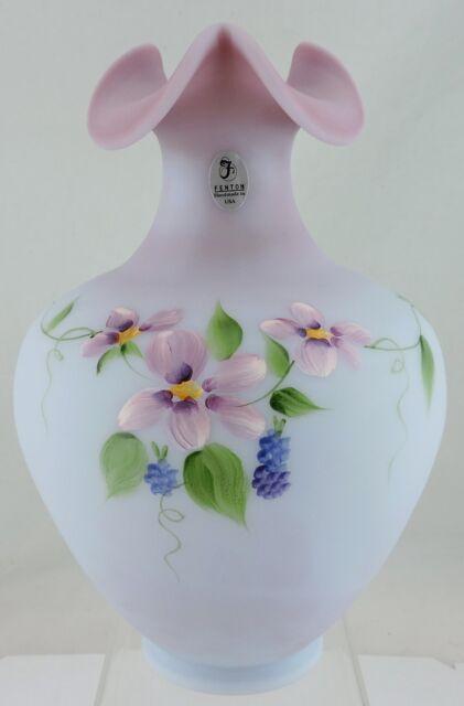 Fenton Burmese Vase Bluelilacpink Hand Painted Flower Garland