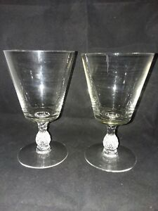 2-Heisey-Plantation-Thin-Pineapple-Stem-Crystal-8-oz-Water-Goblet-Blown-Vintage