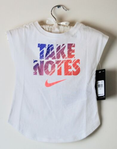 NWT Nike Toddler Girls White TAKE NOTES Cap Sleeve T-Shirt sz 2T 3T 4T