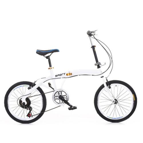 """7 vitesses 20 /""""vélo pliant blanc 44T double V-frein en acier au carbone FR"""