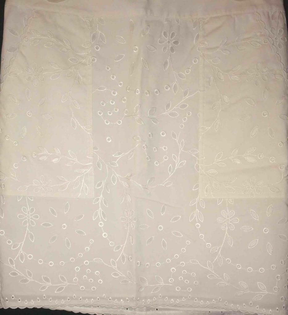 DKNY White Straight Embriodered Eyelet Cotton Skirt Size 10 NWT  245