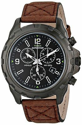 """Timex T49986, Men's """"Expedition"""" Brown Leather Watch, Chronograph, T499869J"""