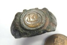 ANCIENT ROMAN BRONZE AGATE SEAL RING w/ EAGLE AND GALLEY SHIP INTAGLIO C3rd A.D.
