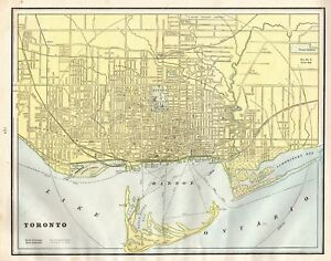 1904 Antique TORONTO Map of Toronto Canada Collectible City Map 4813 ...