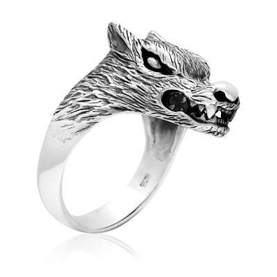 925 Sterling Silver Viking Wolf Fenrir Head Norse Pagan Ring Ebay