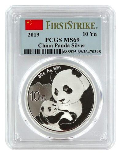 First Strike Label 2019 China 10 Yuan Silver Panda PCGS MS69