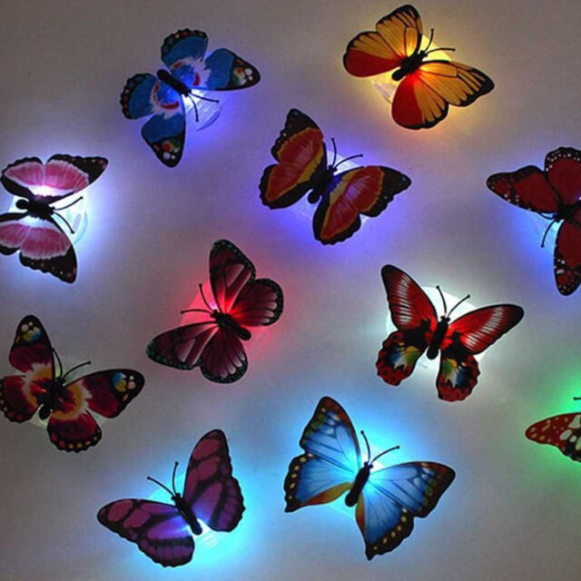 1pc 7 Color Changing Butterfly LED Night Light Lamp with Suction Pad Xmas Decor