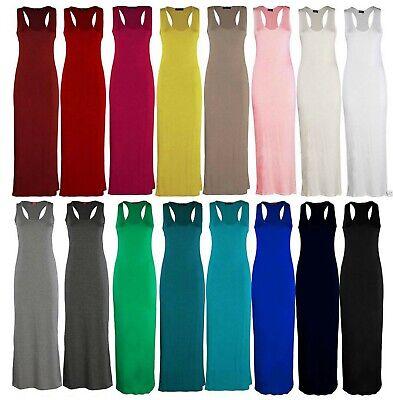 Femmes Jersey Long Summer Vest Racer Muscle Dos Robe Longue Grande Taille 8-26