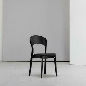 Set Of 4 Scandinavian Rainbow Dining Chairs By Hans K Black With Black Leathe Ebay