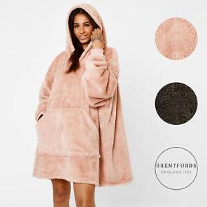 Brentfords-Teddy-Fleece-Hoodie-Blanket-Oversized-Giant-Wearable-Adults-Kids-UK