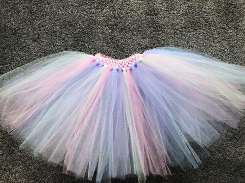 Le ragazze Pastello Rainbow Unicorno Gonna Tutu Multi Colore fatto a mano età 1-10 anni