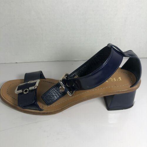 Prada Buckle Ankle Strap Block Heel Sandals Black