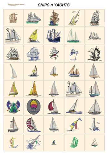 CD or USB machine embroidery designs files most formats boats SHIPS YACHTS