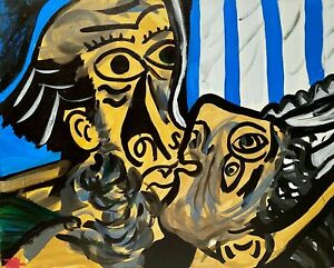 SIGNED AFTER PICASSO THE KISS ABSTRACT MODERNIST FIGURE PORTRAIT STUDY PAINTING