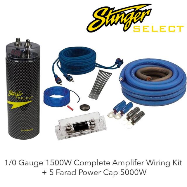 stinger ssk0 0 gauge car audio wiring kit sscap5m 5 farad digital capacitor  for sale online   ebay  ebay