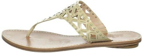BELLE by Sigerson Morrison Nude Beige Riko Studded Cutout Thong Sandals Size 8