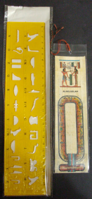 1 Papyrus Book Mark + 1 Stencil Ruler Egyptian Write Your Name in hieroglyphic