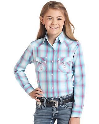 Panhandle Girls Med Plaid Long Sleeve Western Shirt Turquoise Large