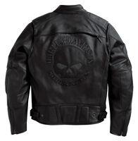 Harley Davidson Men Reflective Willie Skull Black Leather Jacket 98099-07vm Xl