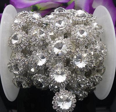 Big 12mm Small 10mm costume applique glass crystal rhinestones silver claw chain