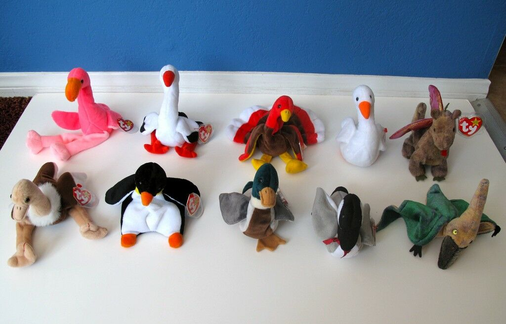 1995 -2000 Ty Beanie Babies Birds Collection Lot of 10 Mint with Tags