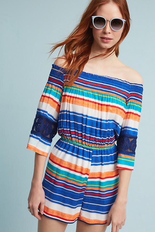 NWT  148.00 Anthropologie Tucson Off The Shoulder Romper Tracy Reese Sz. Medium