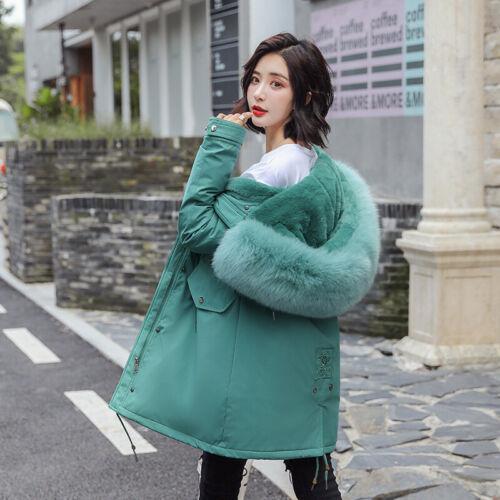 Women Jacket Warm Faux Rabbit Fur Lined Fur Hooded Parka Outwear Snow Thick Coat