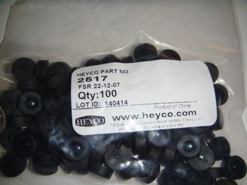 100 HEYCO 2517 PUSH RIVET  MOUNTING FEET APPROXIMATELY 4MM H-13MM DIA.