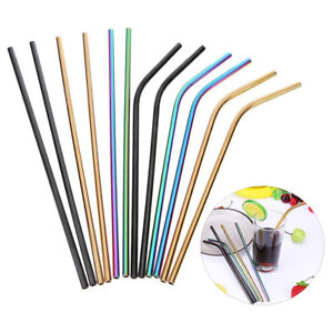 Sports & Entertainment 1 Brush Free Shipping Elegant In Style 4 Pcs Straight And Bendy Stainless Steel Metal Drinking Straw Reusable Washable