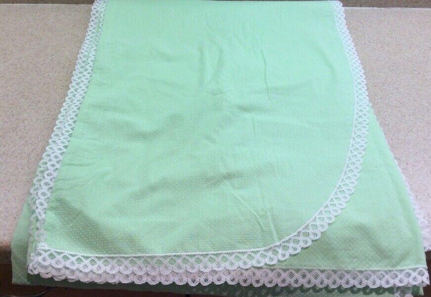 Matouk John Vintage Twin Blanket Cover Grün Weiß  Swiss Dots & Lace USA Made