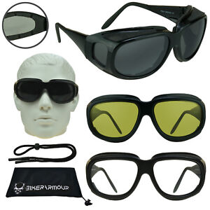 ad2aa29f201 Image is loading Motorcycle-Goggles-that-Fit-Over-Cover-Glasses-Yellow-