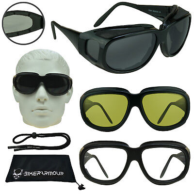 Motorcycle Goggles That Fit Over Glasses w// Strap YellowClear Dark Grey Lens