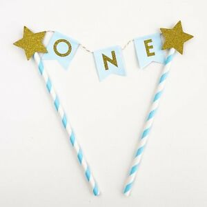 Blue Gold One Year Old Happy Birthday Cake Topper Flag Banner First