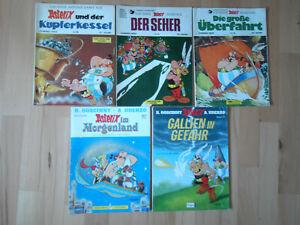 Asterix-Band Nr.13, 19, 27, 28, 33 - Konvolut 5 Comic-Alben ERSTAUFLAGEN