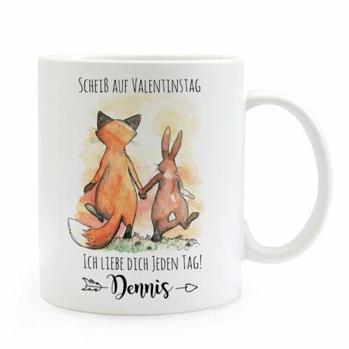 Tasse Becher Kaffeetasse Fuchs Hase Pärchen Scheiß auf Valentinstag Name ts942