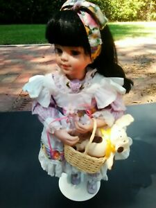 1995-Vintage-Porcelain-Doll-By-Sandy-Freeman-Ashton-Drake-Galleries-Basket-Dog
