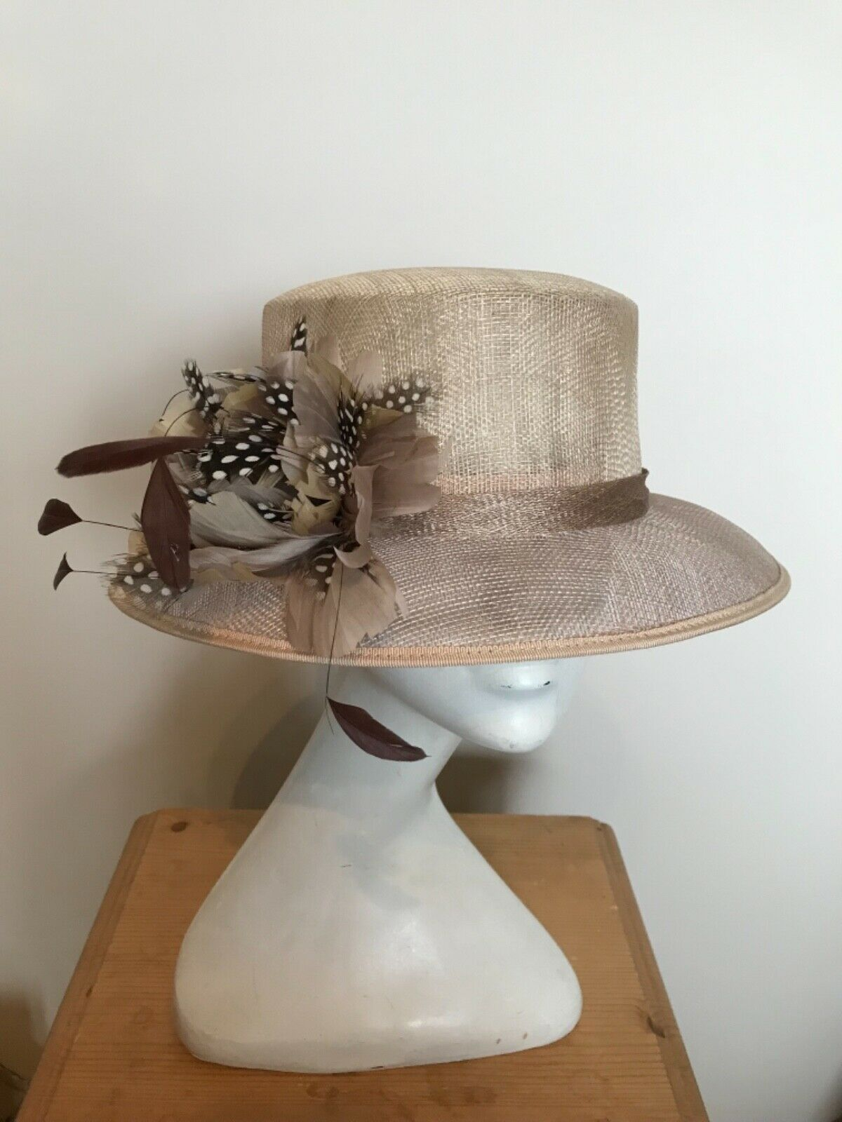 Taupe Beige Hat with small brim and feather trim - Wedding - Races