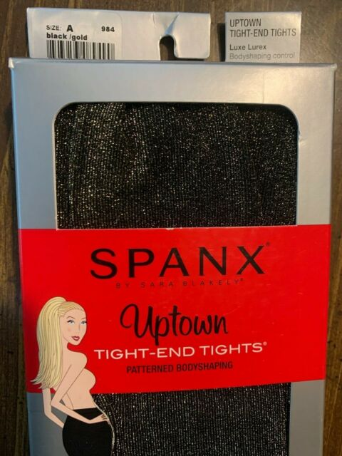 Spanx Size D Uptown Tight End Tights Black Fishnet Patterned Bodyshaping NWT