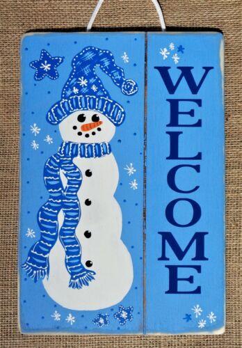 Distressed WELCOME SNOWMAN SIGN Wall Door Hanger Plaque Winter Christmas Decor